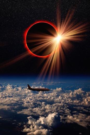 Amazing photo of the Great Eclipse Diamond Ring from plane over America 2017