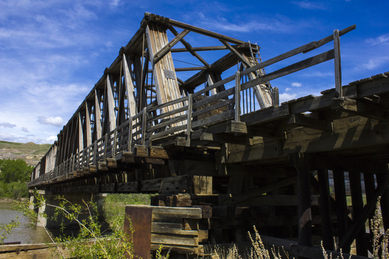 """Wooden C.P.R. """"Howe Truss"""" Bridge"""
