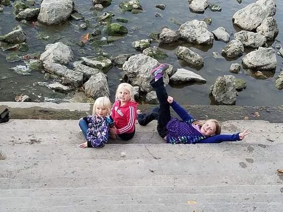The girls, enjoying the dam
