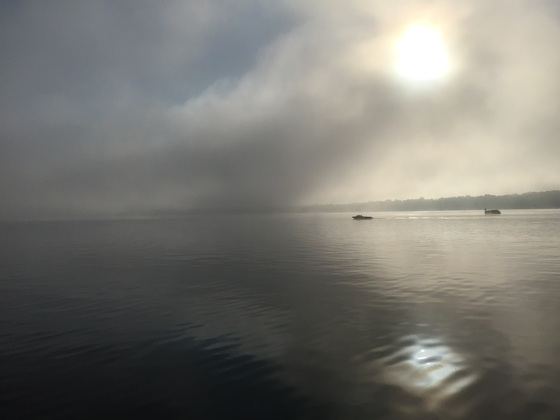 Okauchee Lake in a fog this morning