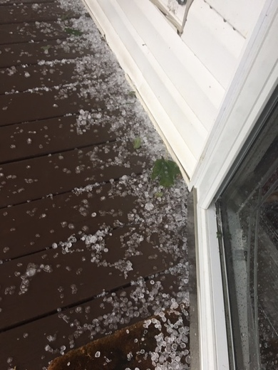 Hail from the storm in Hays