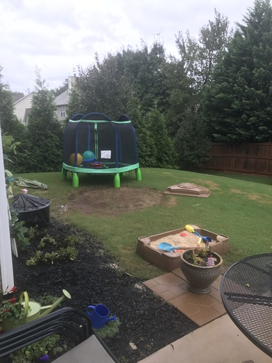 Hurricane Irma Blows Trampoline across yard