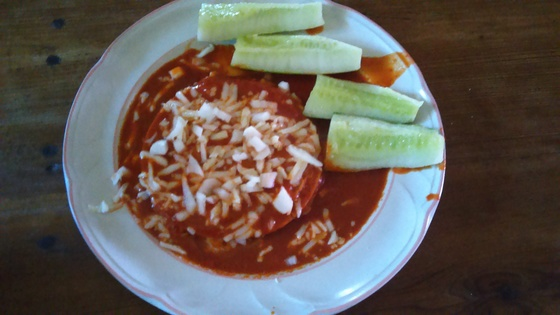 Simple Red Chile and Cheese enchiladas