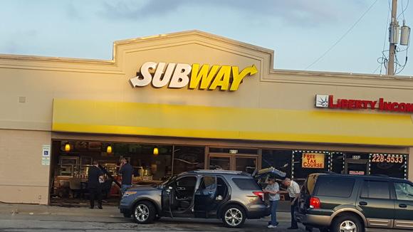 Vehicle drove through glass storefront at Subway