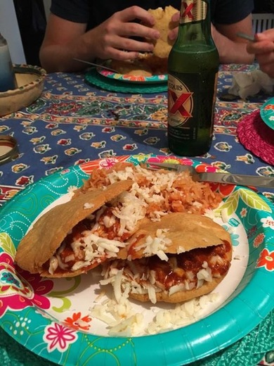 Gorditas stuffed with red chili