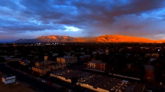 AREIAL VIEW   FIRE-N-THE-SKY-SUNSET-OVER ABQ