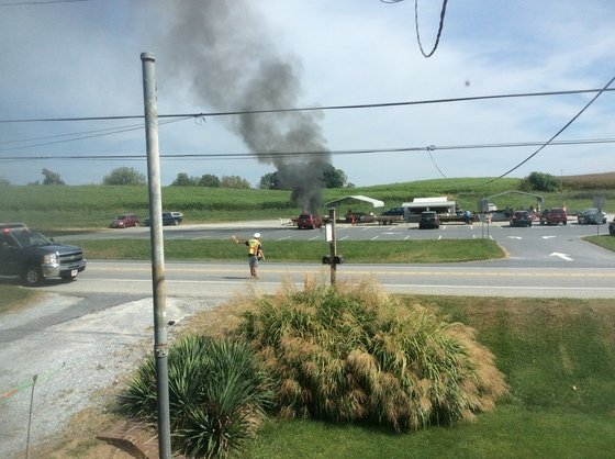 Car fire new Danville at the corn wangon 12:25 pm John kelley photo