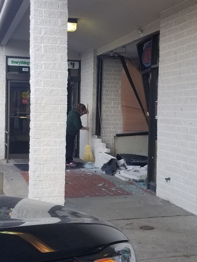 Older lady drives through store