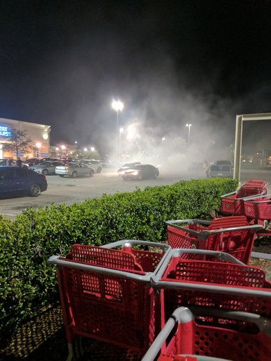 Car on fire at Target west Melbourne
