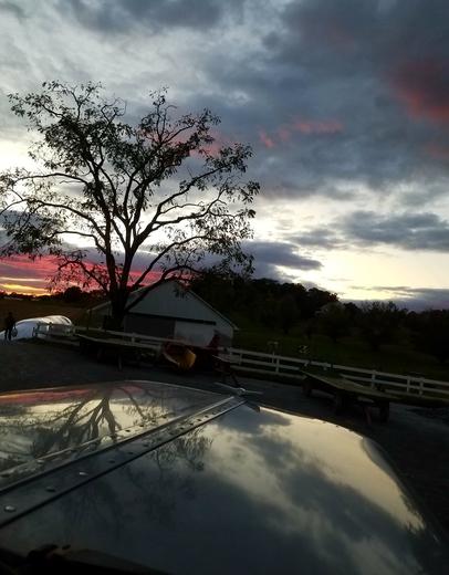 Sunset on an Amish farm