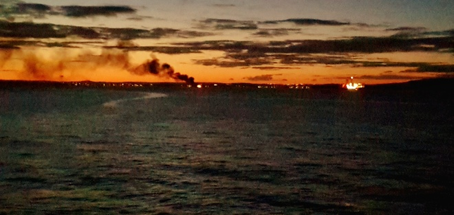 Boat on fire in Conception Bay Newfoundland. Ferry Terminal Rd, Portugal Cove-St. Philip's, NL A1M 2H4, Canada
