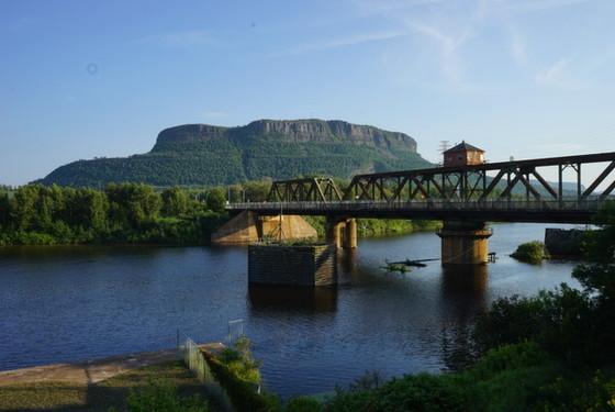 Mount Mckay overlooking James street swing bridge