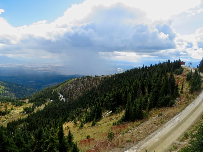 Downpour over the town of Whitefish MT from Big Mountain Ski hill Whitefish, MT, United States