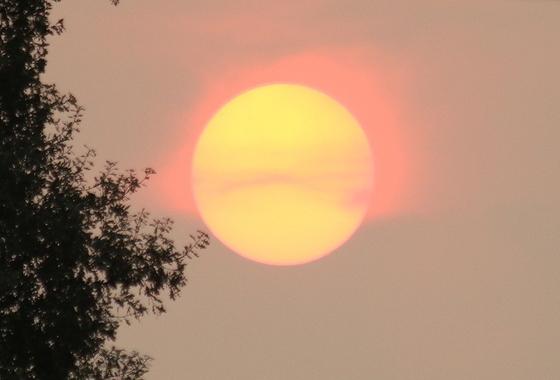 Sun rising over Sacramento