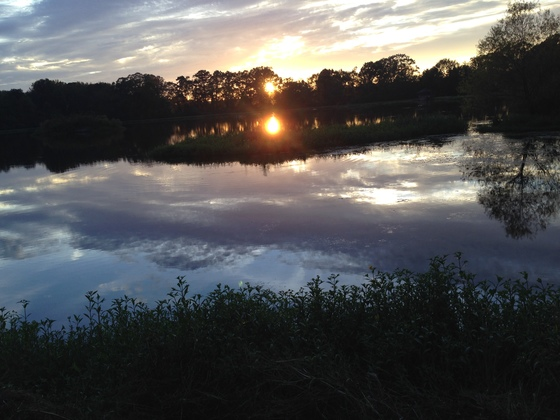 Sunset at neighbors 18 acre pond.