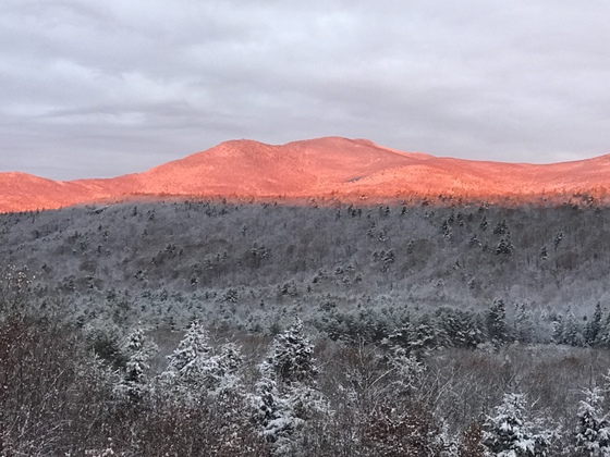 Sunrise after yesterday's snow.