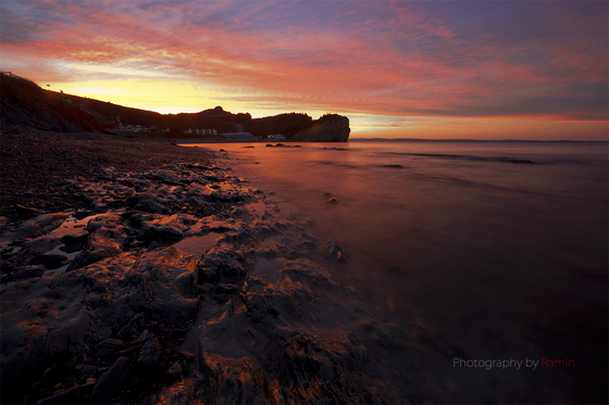 Sunset in Percé Rock