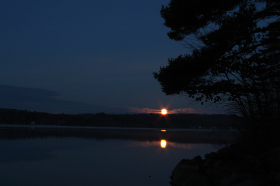 Super Moon Setting Over Long Lake