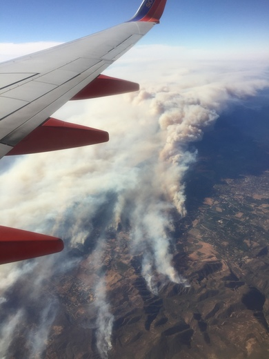 Southern CA fires from commercial air flight
