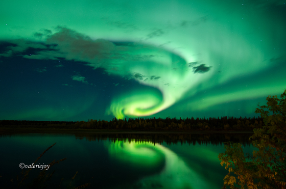 Aurora Borealis over the N Saskatchewan River