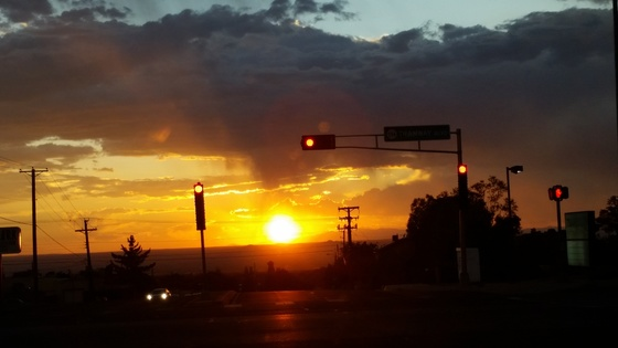 Sunset at a traffic light
