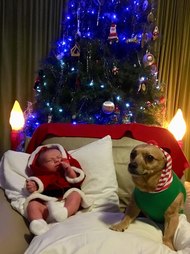 John Robert and Chancho (baby Santa and his evil elf).