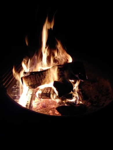 Campfire ready for s'mores!