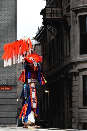 Indigenous dancer in full regalia.