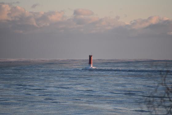 "Sheboygan""s Lighthouse with ice on it."