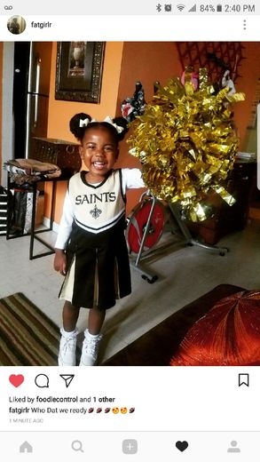 Rylie was so excited when the saints secured the win !