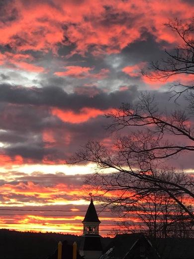 Sunrise, in Milton on school street.