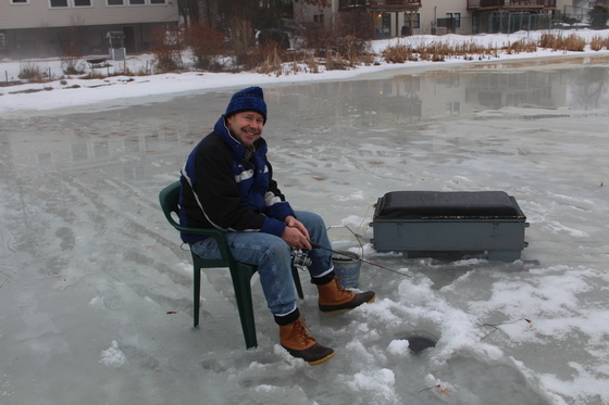 Ice Fishing on Flint Pond before the rains come