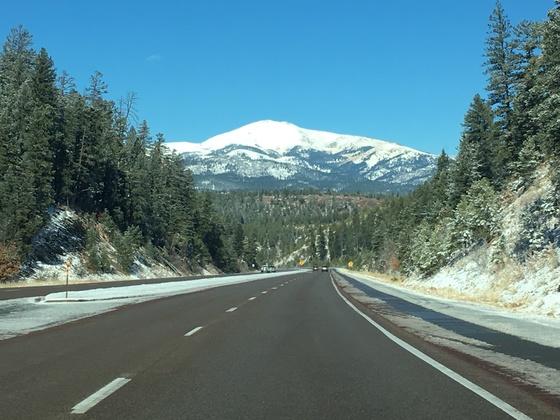 Beautiful drive toward Ruidoso after snowfall on Sierra Blanca