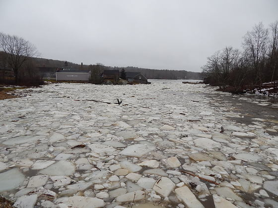Medomak River full of ice chunks and debris from storm...