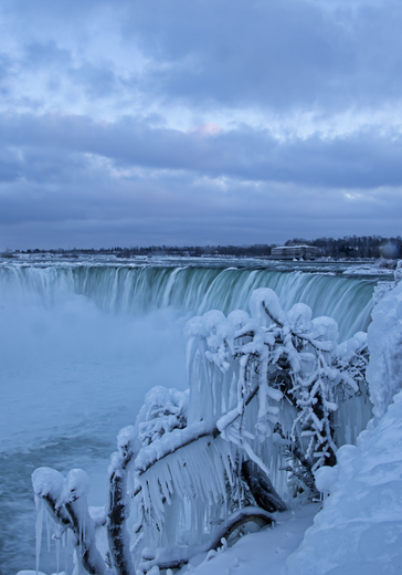 Frozen Falls in The Evening