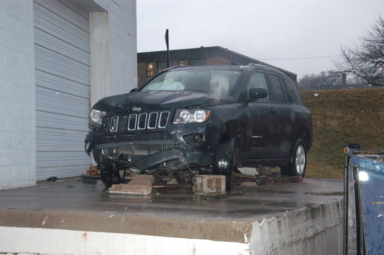 Jeep Compass that was involved in an accident on Ingersoll between 15th and 16th