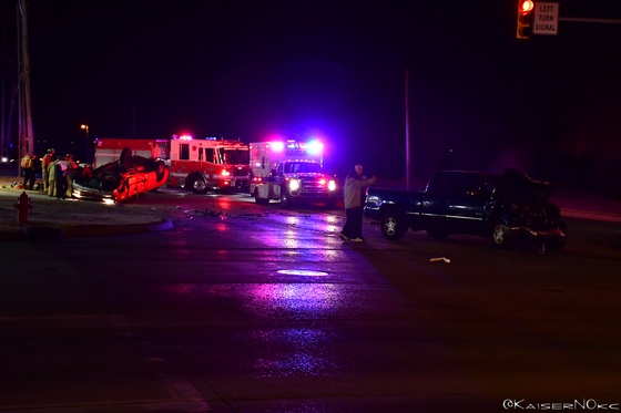Rollover on Nw 36th and Portland 1/27/18 9:15pm