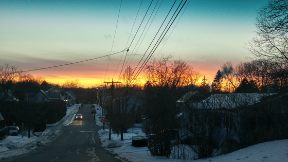 Different shots of sunsets. Weather and full monn