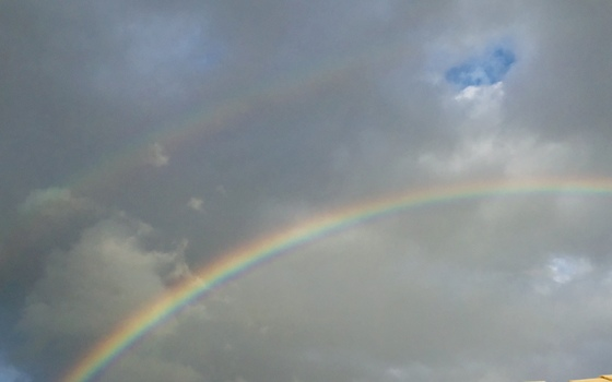 Amidst all the gray clouds, saw this beautiful double rainbow in Royal Palm Beach