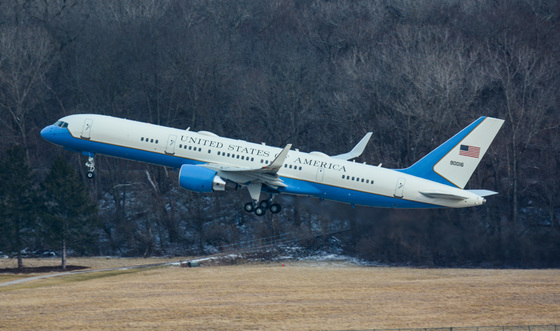 Air Force One departing Lunken yesterday