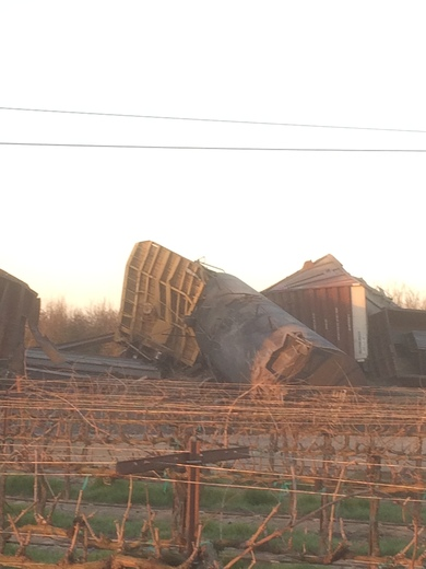 Train derailment and Hughson California