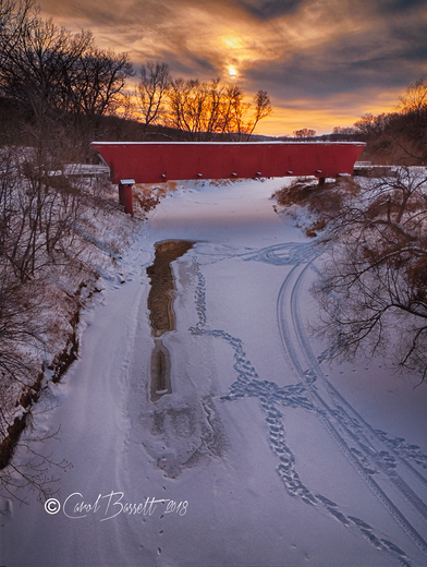 Snowy Holliwell Covered Bridge about 30 minutes before sunset tonight.