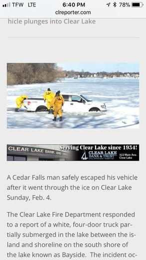Workers equipment falls through ice at Clear Lake