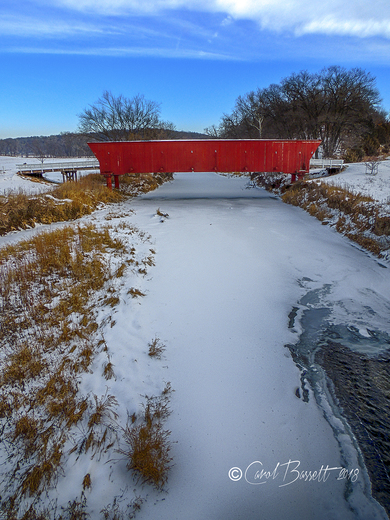 Hogback Covered Bridge in the early morning light, 2-14-18