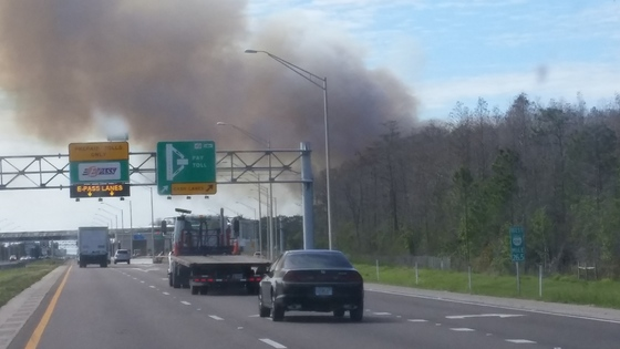 Large fire north of 528 and east of Dallas road