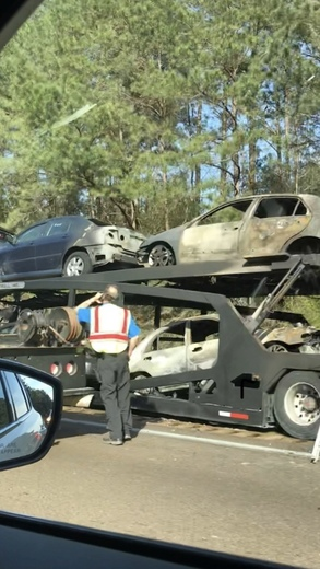 Trailor loaded with cars caught fire on I55 northbound between Wesson and North Brookhaven exits