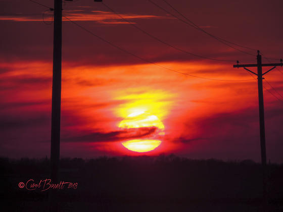 Madison County sunset Saturday, March 10
