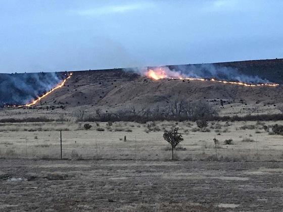 Fire near Black Mesa - Oklahoma highest point