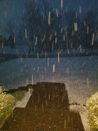 Snow is falling fast in Floyd's Knobs