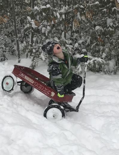 Having fun in the snow in Bedford.